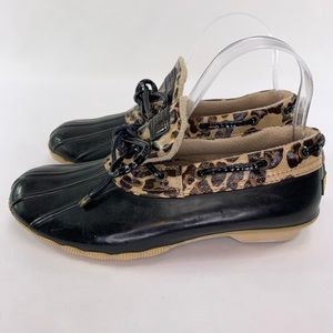 Sperry Cheetah Print Duck Ankle Boots Sz 7.5